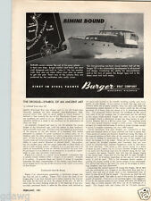 1951 PAPER AD Burger Motor Boat Company Steel Yacht Thompson Canoe Rowboat