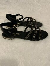 Chanel Black Chains Gladiator Sandals Sz38 $1175