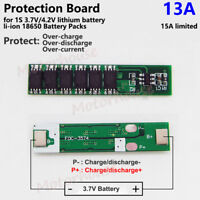 1S 13A 3.7V 4.2V Lithium Li-ion 18650 Battery Pack BMS Cell Protection PCB Board