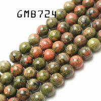 wholesale Natural Unakite Stone Round Loose Beads For Jewelry Making 15.5 inches