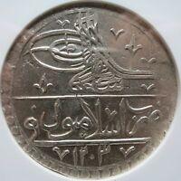 TURKEY Ottoman Emp. YUZLUK AH 1203//1 1789 NGC MS 62 UNC TOP Pop.