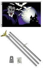 3x5 Happy Halloween Vampire Bats Flag Aluminum Pole Kit Set 3'x5'