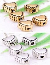 Wholesale 60/130Pcs Tibetan Silver/Gold Heart Spacer Beads 6mm(Lead-free)
