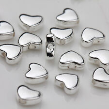 50PCS Tibet Silver Heart Shaped Spacer Beads Charms Pendant Jewelry Making 5*6MM