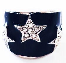 USA RING Rhinestone Crystal Fashion Gemstone Silver Black White SIZE-8 07