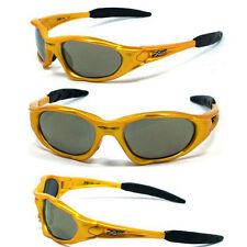 X-Loop Sport Cycling Golfing Wrap Sunglasses Running Yellow/Tinted Brown Mirror