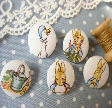 5 Beatrix Potter PETER RABBIT Fabric Covered Buttons Scrapbooking Cardmaking