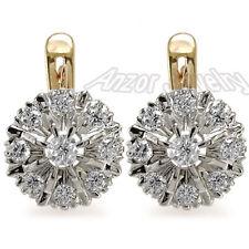 Russian style Jewelry 14k Rose & White Gold Diamond Earrings MALINKA - #E939