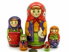 Matryoshka Russian nesting dolls 5 TRADITIONAL Babushka & Chicken RYABOVA signed