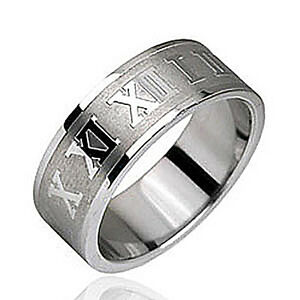 Stainless Steel Men's Roman Numeral 8 MM Fashion Wedding Band Ring Size 9-13