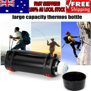 Black 2L Stainless Steel thermos Bottle Travel Mug Flask Thermal Water Insulated
