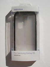 Insignia Samsung Galaxy S5 S 5 Soft Shell Frosted Case Clear / Black NS-GS5T2CB