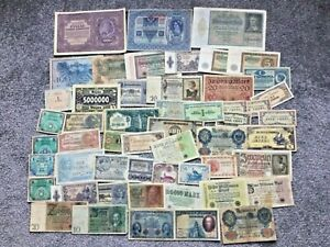 53 x Banknotes German Inflation Austria France British Japan Military Issues Etc