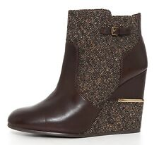 Tory Burch Cherie Wedge Leather Bootie Brown Women Sz 10.5 M 1132
