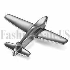 Polished Stainless Steel Mens Silver Tone Airplane Model Pendant Necklace Chain