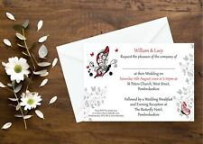 10 Wedding Invitations Day/Evening Butterfly Ivory or White All Colours