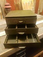 Vintage STEAM PUNK  3 Drawer Industrial GREEN Metal Tool Parts Storage Cabinet