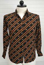 Ladies TOMMY HILFIGER Sz 4 l/s Button Down Black Red Stripe Crest Top Blouse