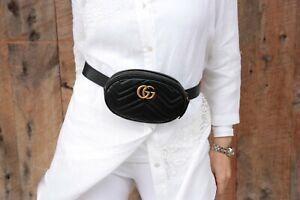 Authentic Gucci GG Marmont Matelasse Black Belt Waist Bag Clutch 85 34