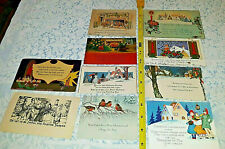 10 Old Vintage Art Deco Single Sided House Fireplace Christmas Greeting Card Lot
