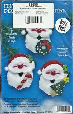 Design Works 5327 Santa Christmas Ornaments Felt Kit Embroidery Sequins Sewing