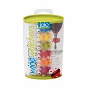 Joie Wine Watchers Silcione Wine Glass Marker Charms - 6 Piece Set