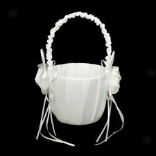 Fashion Ivory Bud Satin Bridal Flower Girl Basket Wedding Party Ceremony