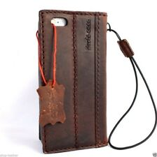 genuine real leather case for iphone 5 5S S cover purse style stand card retro B