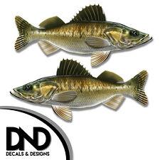 "Walleye - Fish Decal Fishing Tackle Box Bumper Sticker ""5in SET"" F-1060 D&"