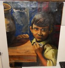 OLD OIL ON CANVAS BOY A THE TABLE PAINTING SIGNED ON BACK