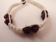 Men's Wood Beaded Macrame Hemp Loop Closure Bracelet #1 7 Inches