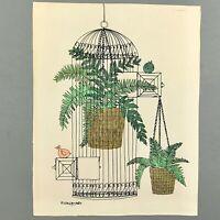 "M Baldasaro Print Birdcage Bird Plants Unframed 11"" x 14"""