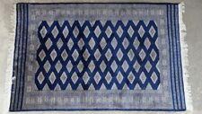 Teppich Oriental Vintage blau Schurwolle handgeknüpft weiß Fransen Karo gebrauch