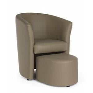 Armchair Rita Cin Pouf, Color Taupe