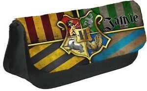 Personalised Harry Potter Crests Kids School Black Pencil Case/Make Up Bag