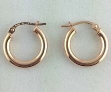 New 9ct Rose Gold Round Tube Hoop Earrings