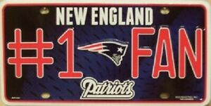 New England Patriots #1 Fan NFL New Metal License Plate Tag