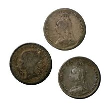Great Britain 1877 1892 and closed 3 1893 Queen Victoria Silver Threepence Coins