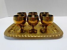 Brass Small 6 Goblets & Serving Tray Made In India