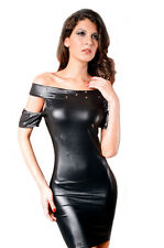 Leather Style Tight Open Shoulder Sleeve Night Club Mini Dress Small