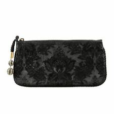 Gucci Black Floral Embroidered Leather Clutch