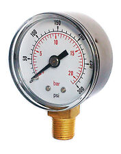 Pressure Gauge 0/300 PSI & 0/20 Bar 50mm Dial 1/4 BSPT Bottom connection.