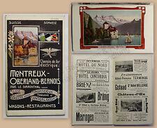 PROSPEKT BROCHURE pubblicità con loghi Montreux Oberland Bernois Svizzera 1914 con immagini XZ