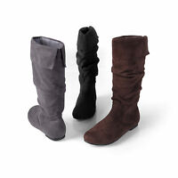 Journee Collection Womens Wide Calf Microsuede Slouch Pull-on Boots