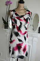 Alexander McQueen McQ Small Mini Sheath Dress Feathers White Black Pink 8 10 S