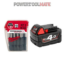 Milwaukee M18B4 18V 4.0ah Red Lithium Ion Li-On Battery + 4932352980 Bit Set
