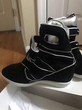Laboratorio Corte Black Wedge Sneakers Genuine Suede /mesh Sz 10 $338