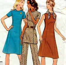"EASY Vintage 70s DRESS Tunic & Pants Sewing Pattern Bust 40"" Size 16 RETRO"