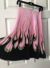 PRADA pink SS12 runway hot rod flame  print Pleated skirt IT36