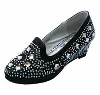 KIDS GIRLS CHILDRENS BLACK DIAMANTE WEDGES DRESS-UP PARTY SHOES PUMPS SIZES 8-2
